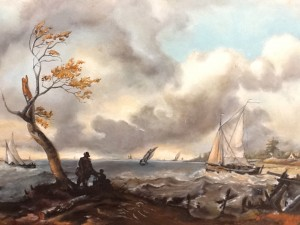 """Bateaux de pêche et cabotier par gros temps dit """"le coup de vent"""""""